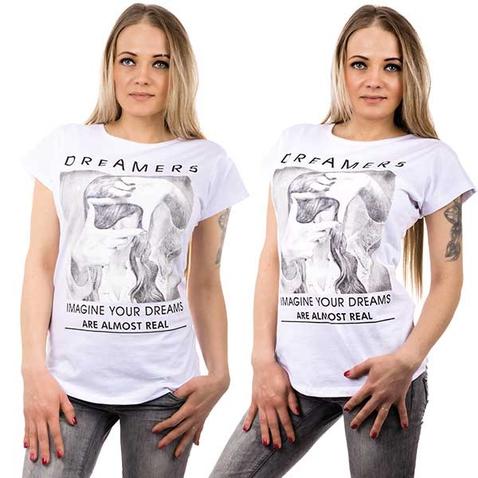 Biele tričko s motívom Dreamers