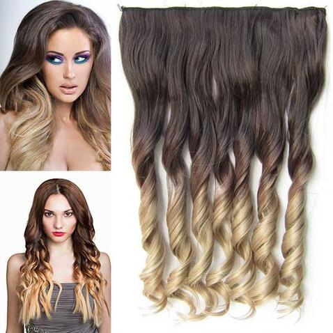 Clip in vlasy - pás, lokne - ombre - odtieň 4 T 16