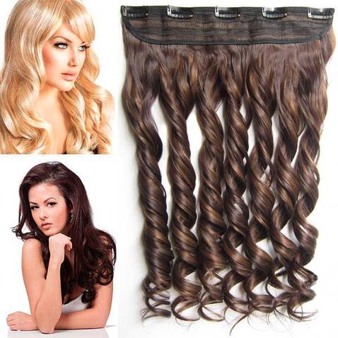 Clip in pás vlasov - lokne 55 cm - odtieň F6A/4 - tmavý melír