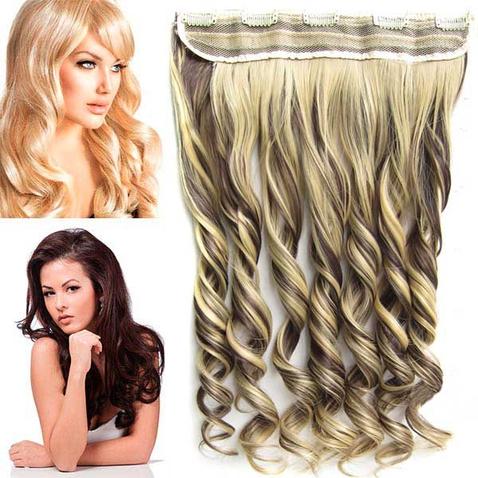 Clip in pás vlasov - lokne 55 cm - odtieň F4/22 - tmavý melír