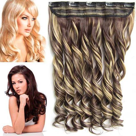 Clip in pás vlasov - lokne 55 cm - odtieň F22/4 - tmavý melír