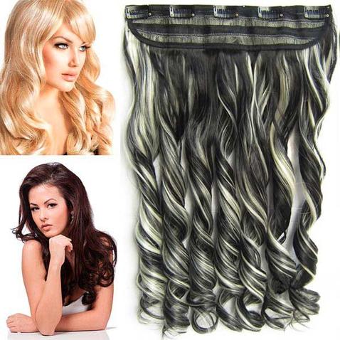 Clip in pás vlasov - lokne 55 cm - odtieň F613/1B - melír