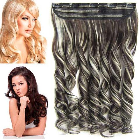 Clip in pás vlasov - lokne 55 cm - odtieň F613/6 - melír