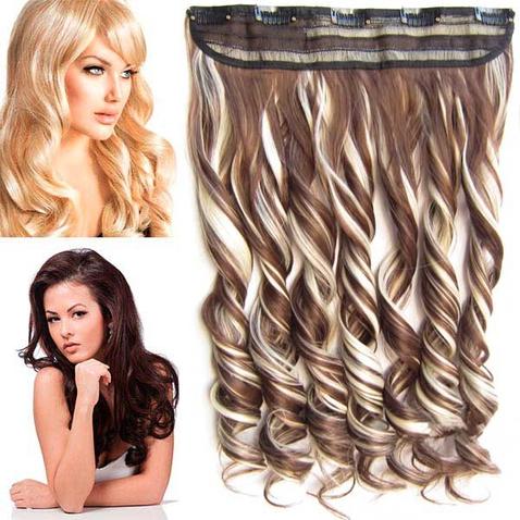 Clip in pás vlasov - lokne 55 cm - odtieň F613/8 - melír
