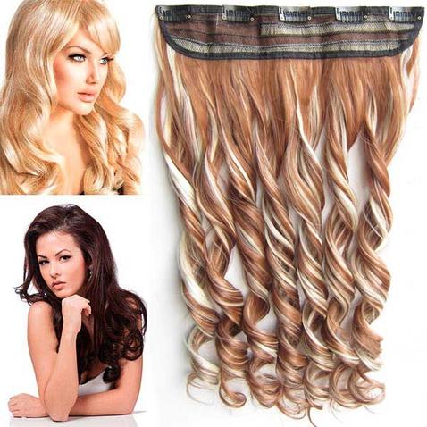 Clip in pás vlasov - lokne 55 cm - odtieň F613/30 - melír