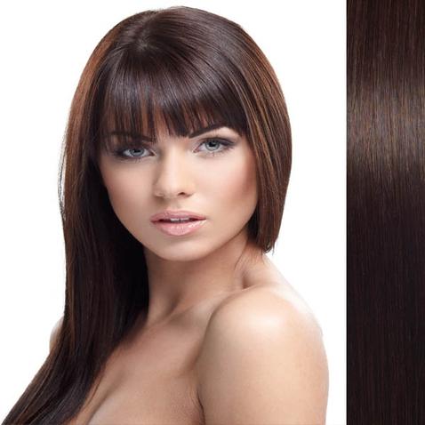 Clip in vlasy ľudské - Remy 105 g - pás vlasov - 2 - tmavo hnedá
