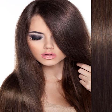 Clip in vlasy ľudské - Remy 125 g - pás vlasov - 4 stredne hnedá