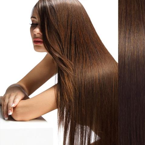 Clip in vlasy ľudské - Remy 125 g - pás vlasov - 6  svetlo hnedá