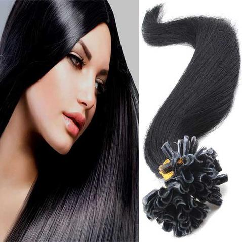 Vlasy keratín kvalita Remy AAA 51 cm, 100 ks - 1B - čierna