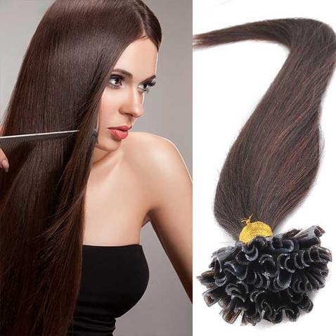 Vlasy keratín kvalita Remy AAA 51 cm, 100 ks - 2 - tmavo hnedá