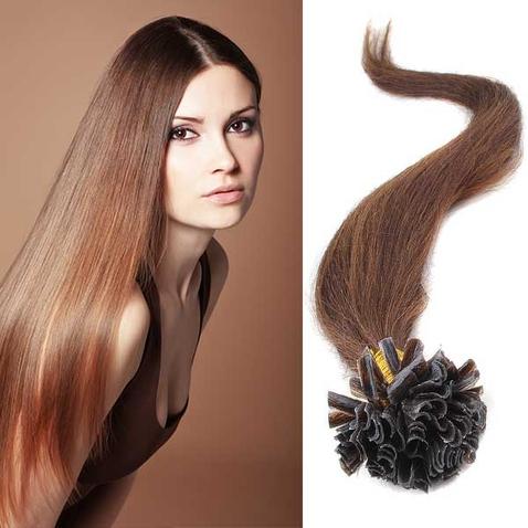 Vlasy keratín kvalita Remy AAA 51 cm, 100 ks - 4 - hnedá