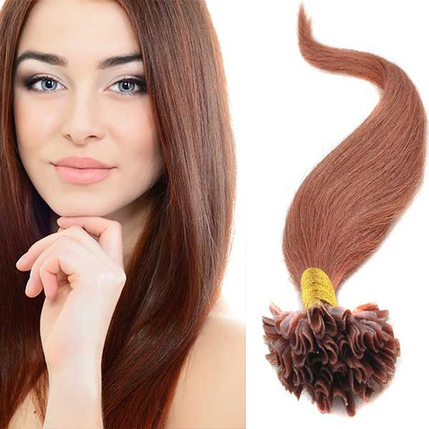 Vlasy keratín kvalita Remy AAA 51 cm, 100 ks - 30 - gaštanová
