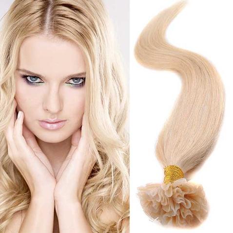Vlasy keratín kvalita Remy AAA 51 cm, 100 ks - 613 - blond