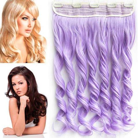 Clip in pás vlasov - lokne 55 cm - svetlo fialová