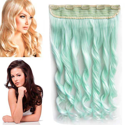 Clip in pás vlasov - lokne 55 cm - mint
