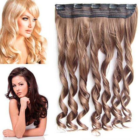 Clip in pás vlasov - lokne 55 cm - 6A - hnedá