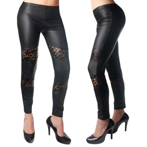 Legíny - vzhľad koža s gepardím záplatami