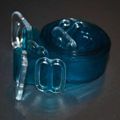 Silikónové ramienka k podprsenke - priehľadne modré