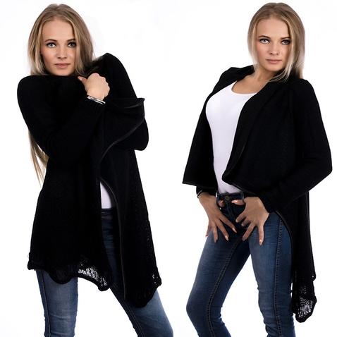 Čierny cardigan velúrového vzhľadu s koženými doplnkami