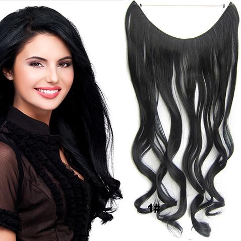 Flip in vlasy - vlnitý pás vlasov 45 cm - odtieň 1#