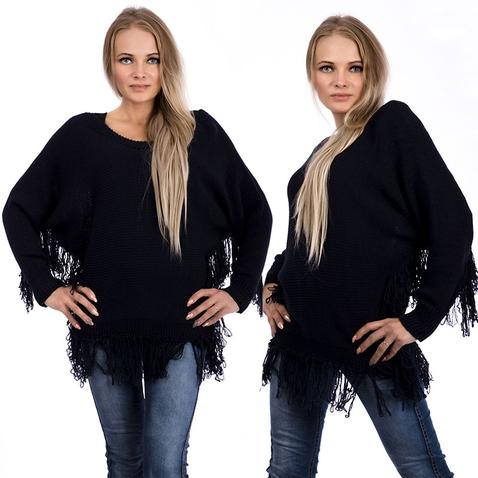 Dámsky sveter - pončo - tmavomodrý