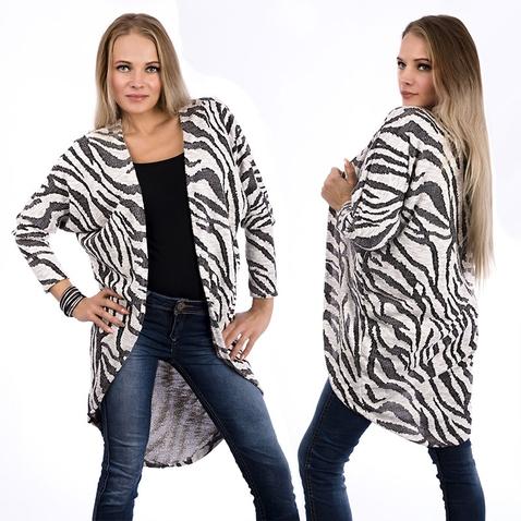 Dlhý kardigan so vzorom zebry