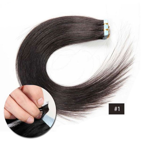 Vlasy na predĺženie TAPE IN - dĺžka 40 cm, odtieň 1 #
