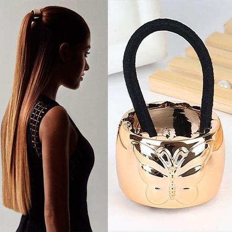 Kovová spona do vlasov s motýľom - zlatá
