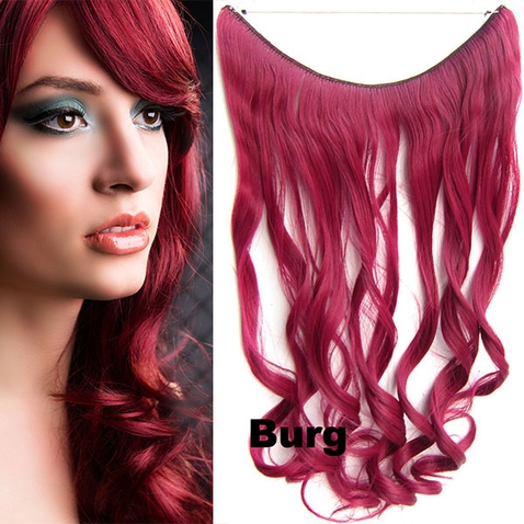 Flip in vlasy - vlnitý pás vlasov - odtieň BURG
