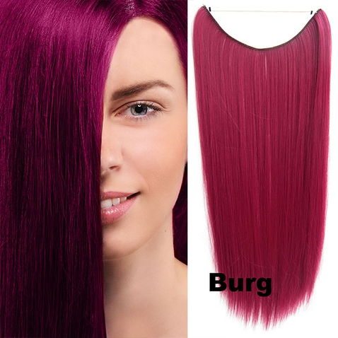 Flip in vlasy - 55 cm dlhý pás vlasov - odtieň BURG