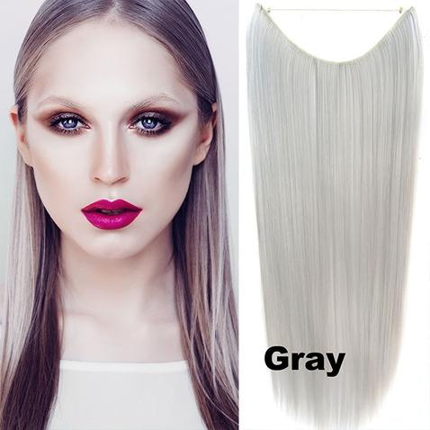 Flip in vlasy - 55 cm dlhý pás vlasov - odtieň GRAY