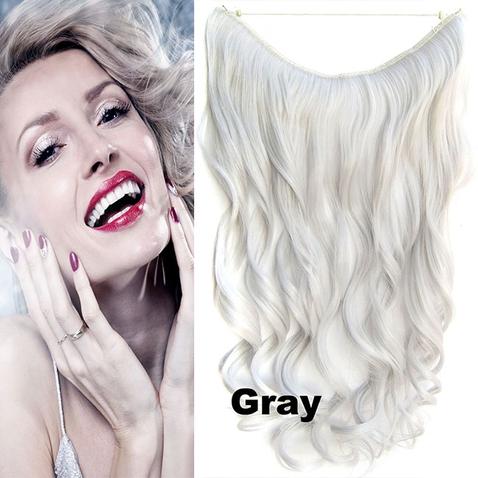 Flip in vlasy - vlnitý pás vlasov - odtieň Gray