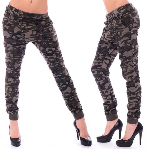 Dámske pokrčené nohavice Army Baggy jeans
