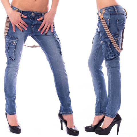 Dámske jeans kapsáče s traky