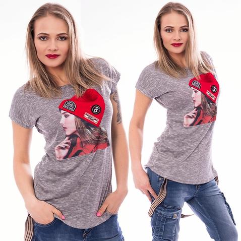 Dámske tričko s módnou aplikáciou CAP - svetlo šedé