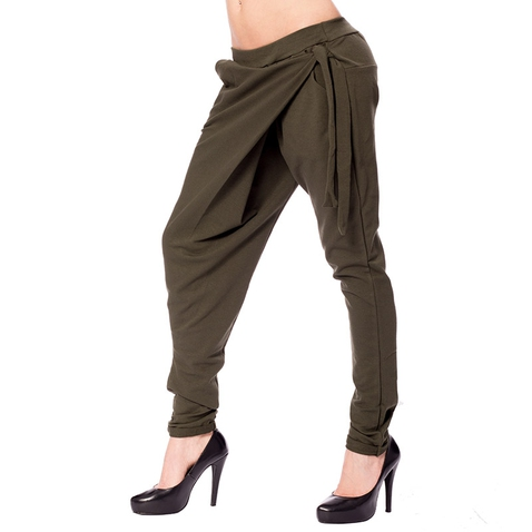 Háremové nohavice s prekladom - khaki