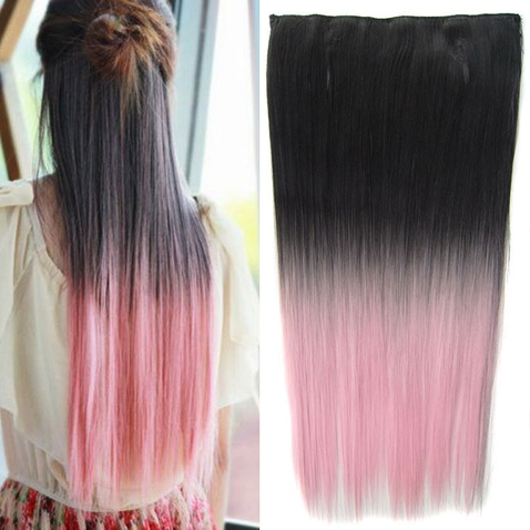 Clip in vlasy - rovný pás - ombre - odtieň Black T Light Pink