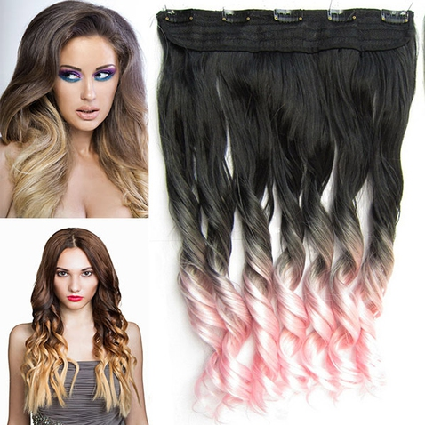 Clip in vlasy - pás, lokne - ombre - odtieň Black T Light Pink