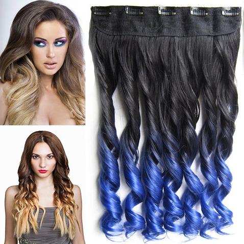 Clip in vlasy - pás, lokne - ombre - odtieň Black T Blue