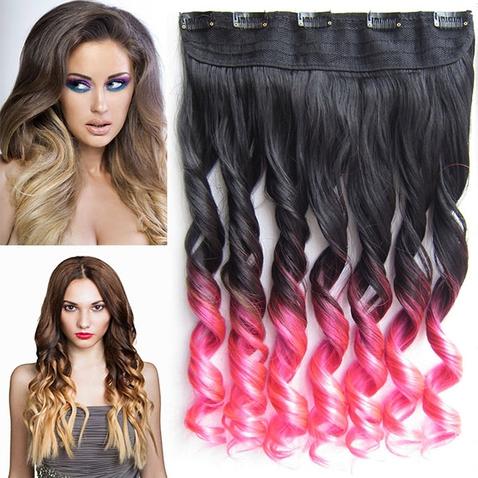Clip in vlasy - pás, lokne - ombre - odtieň Black T Pink