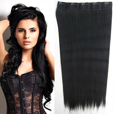 Clip in vlasy - 60 cm dlhý pás vlasov - odtieň 1#