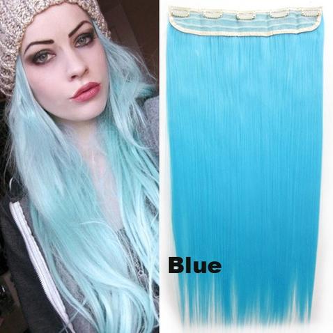 Clip in vlasy - 60 cm dlhý pás vlasov - odtieň Blue