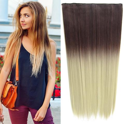 Clip in vlasy - rovný pás - ombre - odtieň 4 T Khaki