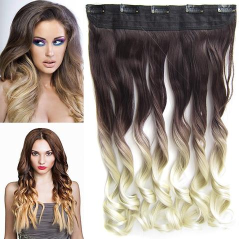 Clip in vlasy - pás, lokne - ombre - odtieň 4 T Khaki