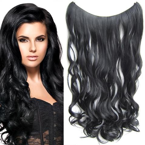 Flip in vlasy - vlnitý pás vlasov 55 cm - odtieň 1#