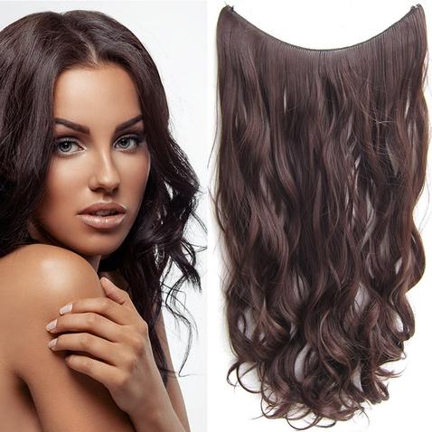 Flip in vlasy - vlnitý pás vlasov 55 cm - odtieň 4