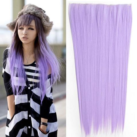 Clip in vlasy - 60 cm dlhý pás vlasov - odtieň Light Purple