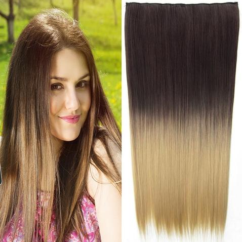 Clip in vlasy - rovný pás - ombre - odtieň 6A T 24