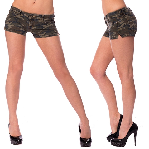 Dámske riflové kraťasy army style