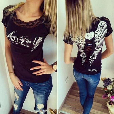 Dámske tričko Angel - čierne